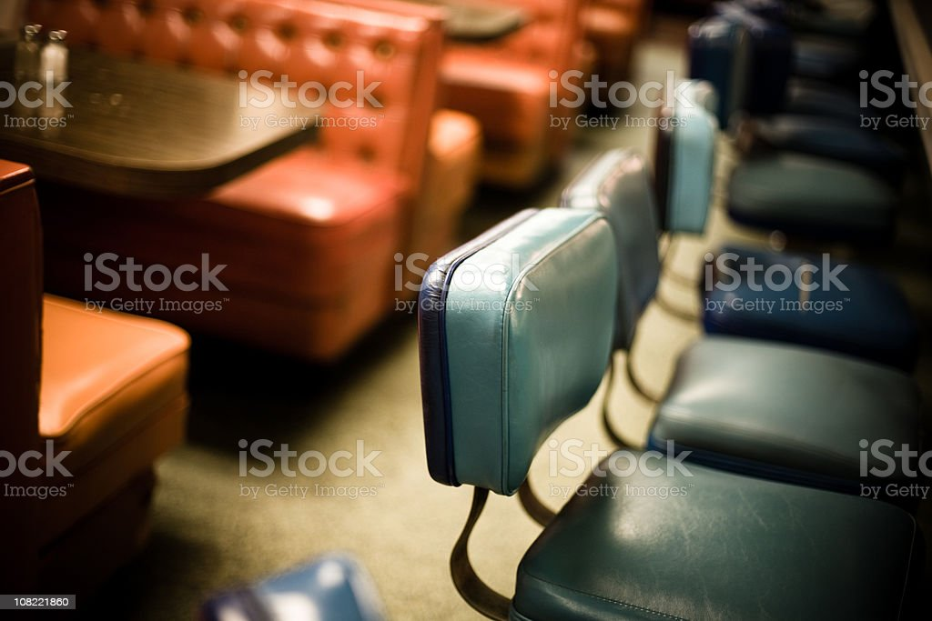 Interior of old diner stock photo
