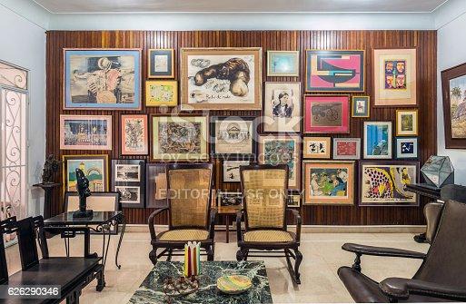 Havana, Cuba - October 12, 2016: Interior of old Villa in Vedado, suburbs of Havana.