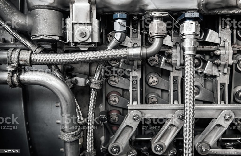 interior of old jet engine close-up stock photo