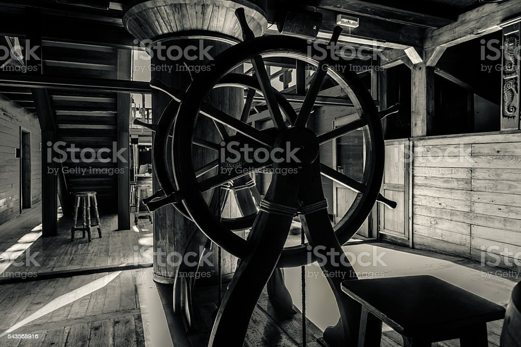 Interior of old pirate ship stock photo