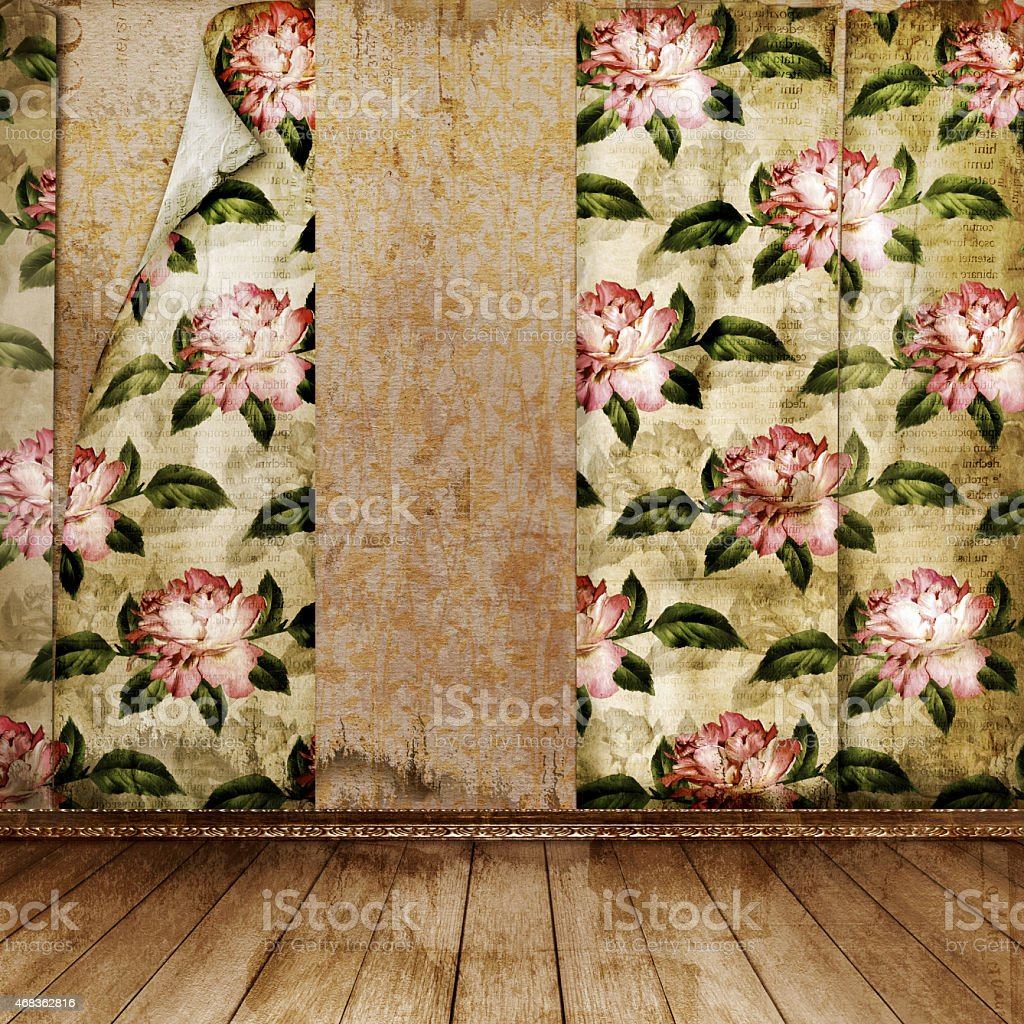 Interior of old room with former remains of luxury royalty-free stock photo
