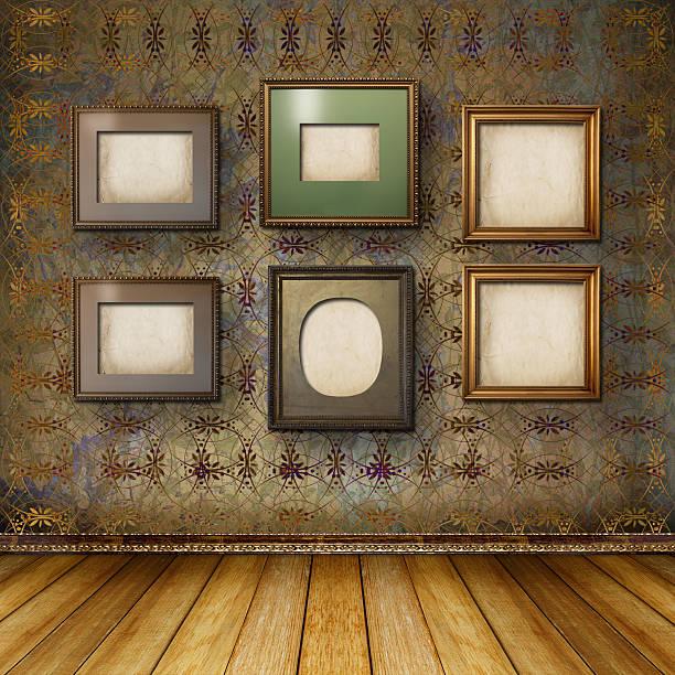 innenraum der alten zimmer mit der ehemaligen überreste von luxus - sammelalbum wandkunst stock-fotos und bilder