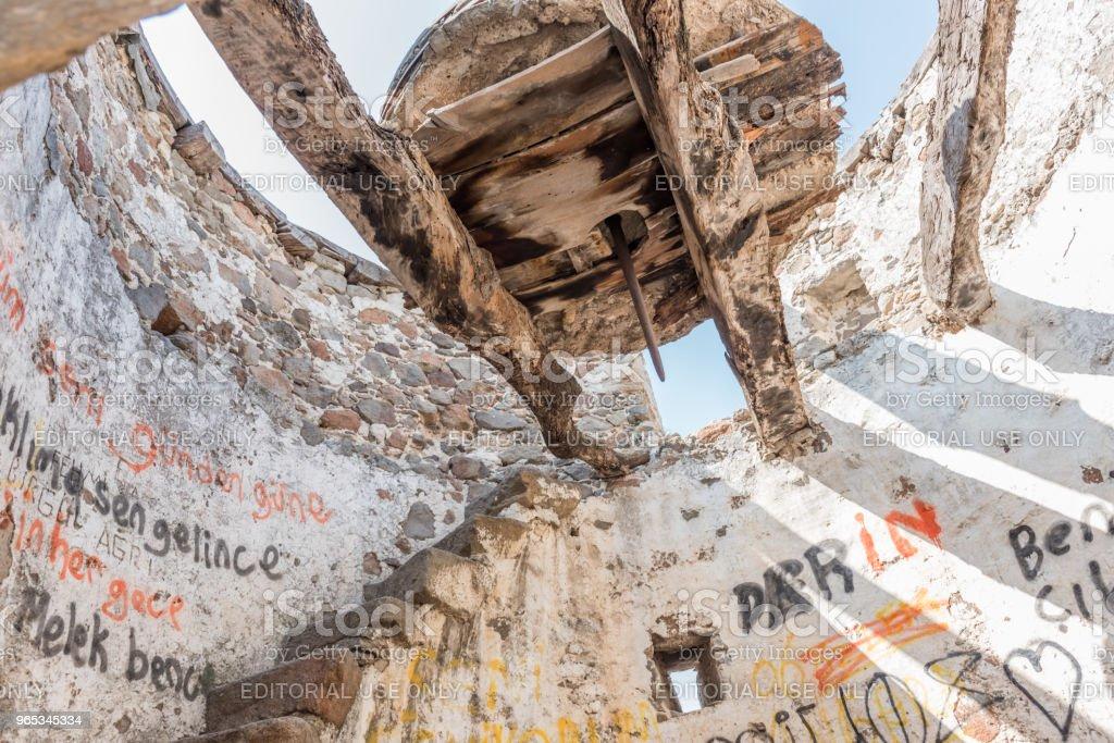 Interior of old ruined windmills on top of Bodrum zbiór zdjęć royalty-free
