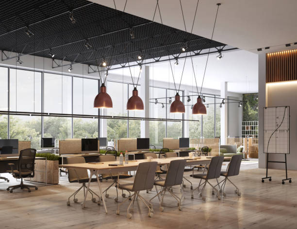 Interior of open space office stock photo