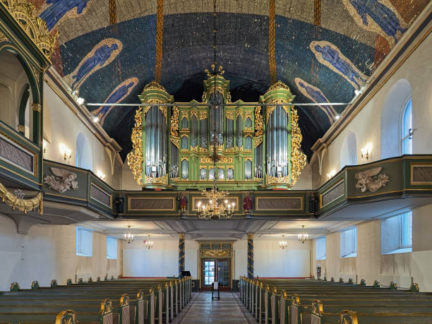 Interior of Oslo Cathedral with main organ, Norway stock photo