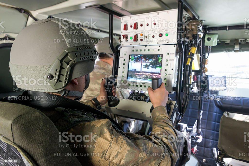 Interior of Otokar Cobra armored vehicle stock photo