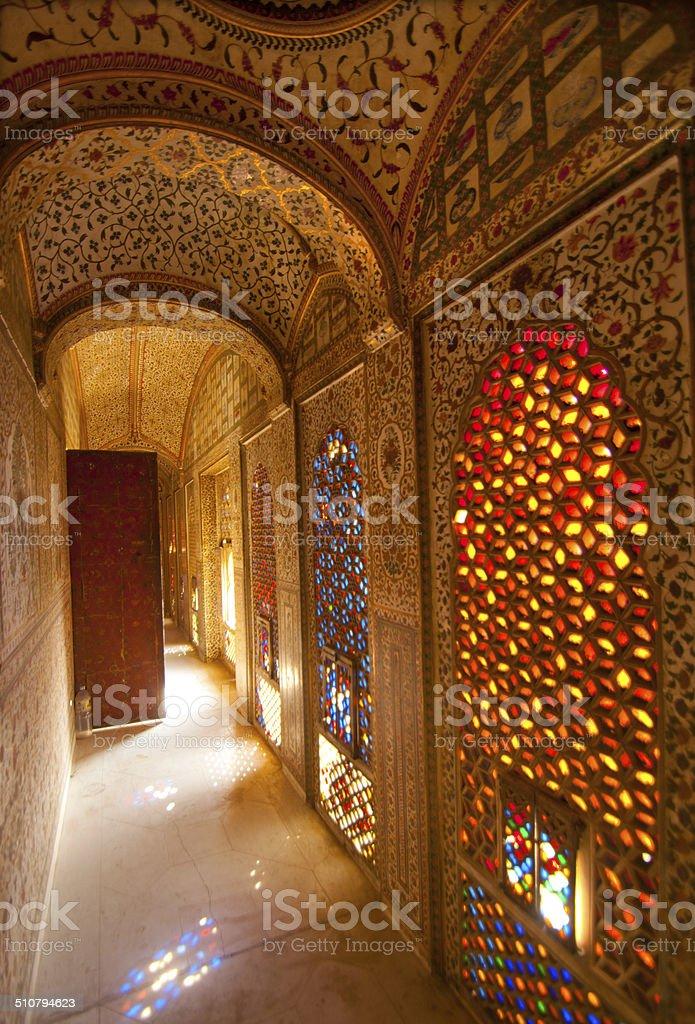 Interior Of Palace Junagarh Fort,  Bikaner, Rajasthan, India stock photo