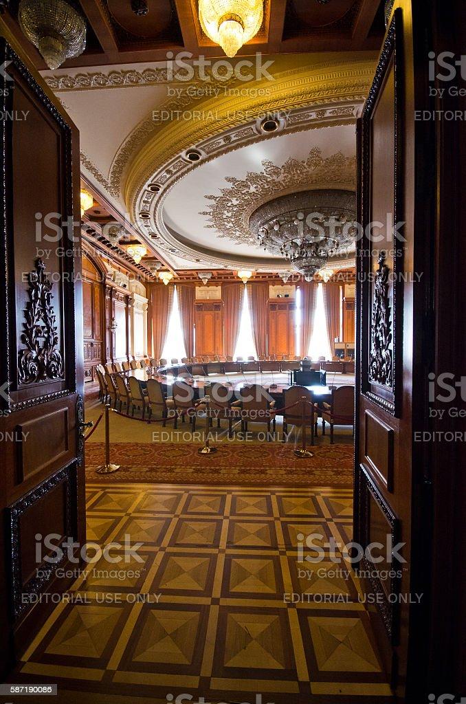 Interior of parliament building in Bucharest, Romania stock photo