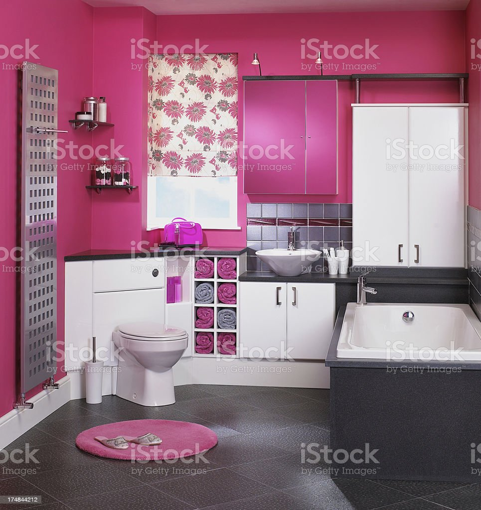 Interior of pink bathroom royalty-free stock photo