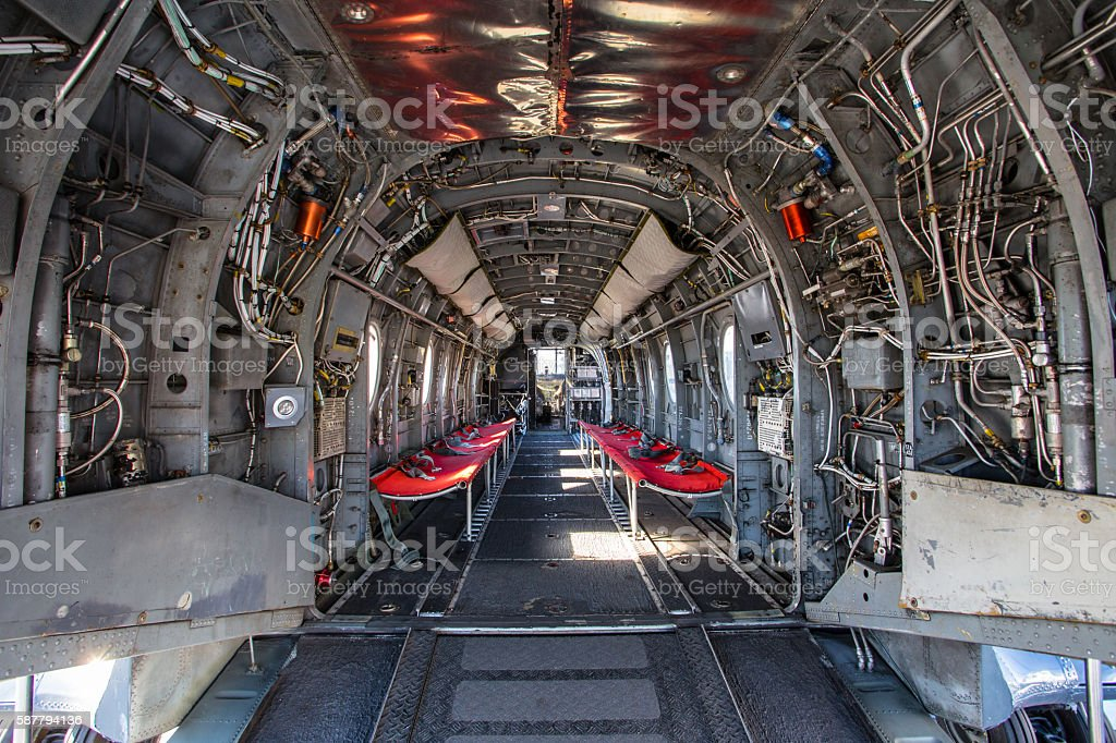 Interior of plane fuselage stock photo