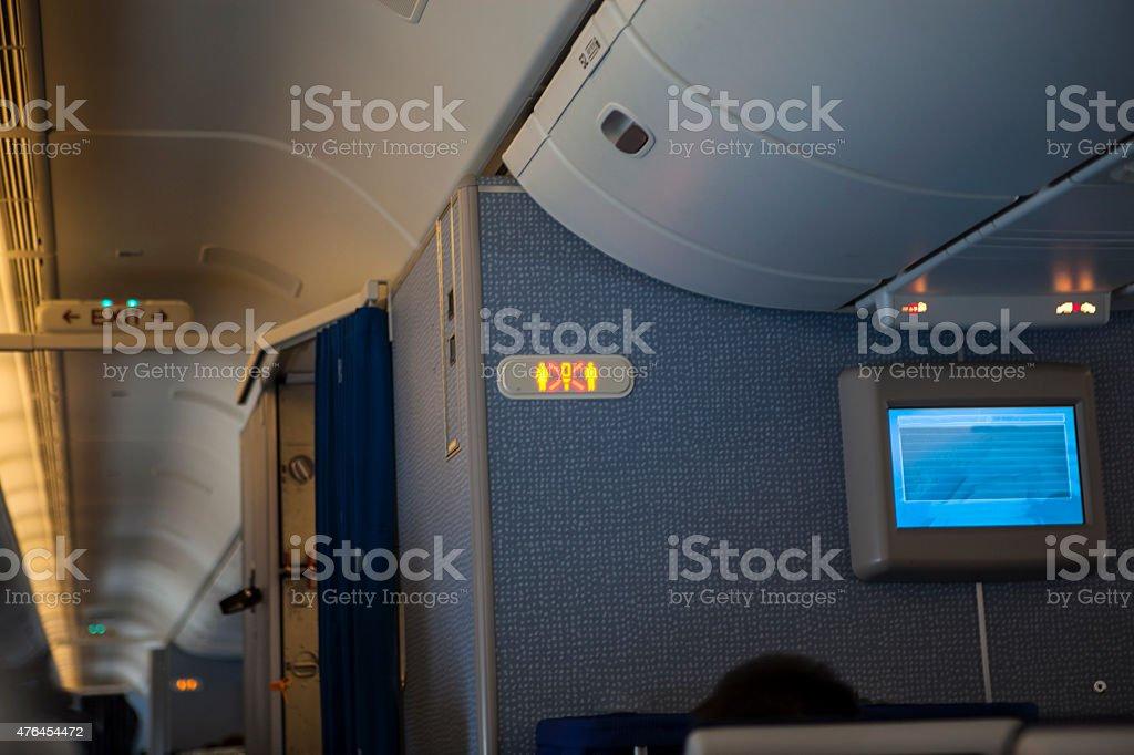 Interior of  plane stock photo
