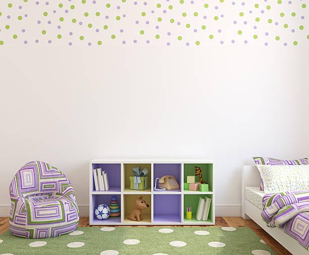 innenansicht des spielzimmer. - lila, grün, schlafzimmer stock-fotos und bilder