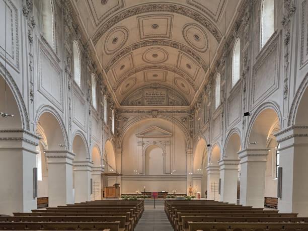 Interior of Predigerkirche in Zurich, Switzerland stock photo