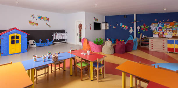 interior of preschool kindergarten - preschool stock photos and pictures