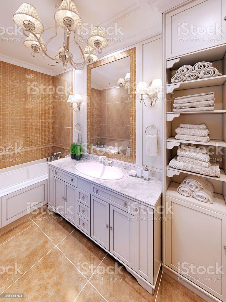 Interior of provence bathroom stock photo