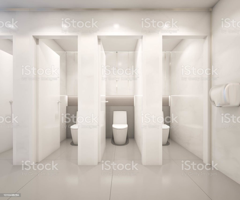 Interior Of Public Toilet Design With White Marble Tiles Wall 3d Rendering Stock Photo Download Image Now Istock