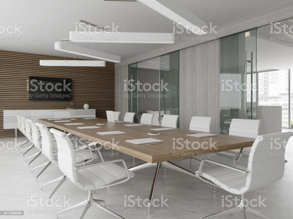 Interior of reception and meeting room 3D illustration stock photo