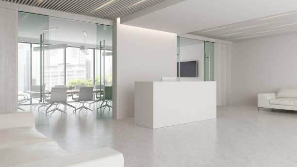 interior of reception and meeting room 3d illustration - hotel reception zdjęcia i obrazy z banku zdjęć