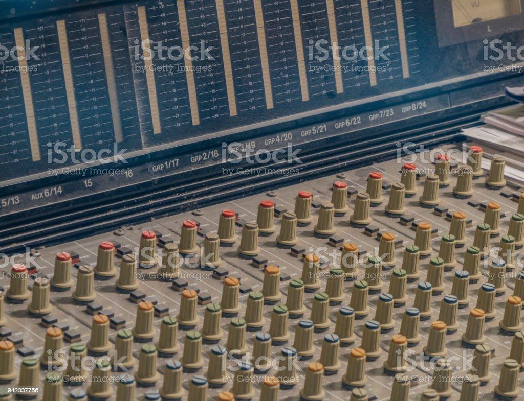 Interior of recording studio in Klatovy city stock photo