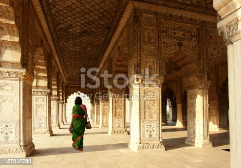 Indian Woman Walking in the Red Fort, Delhi, India
