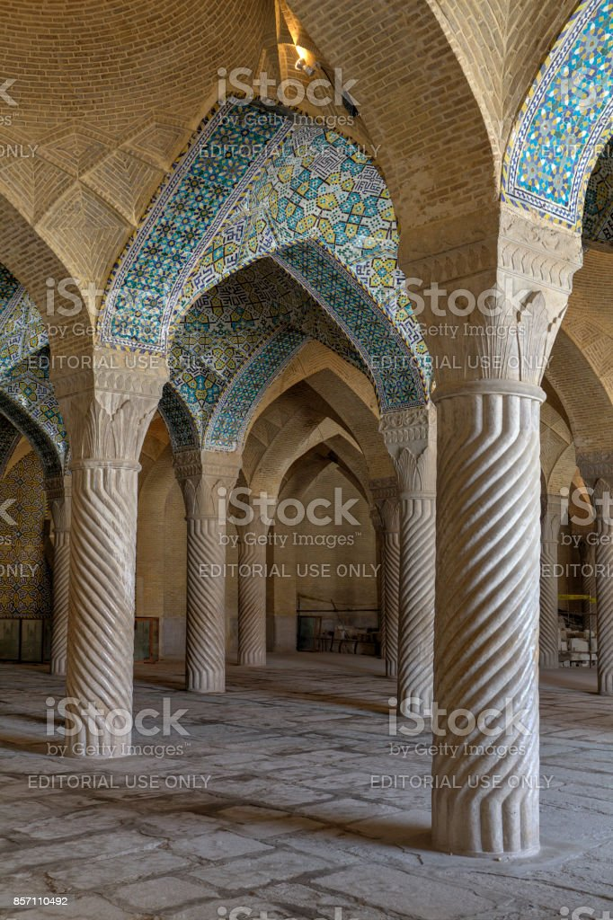 Interior of Regent's Mosque, Shiras, Iran stock photo
