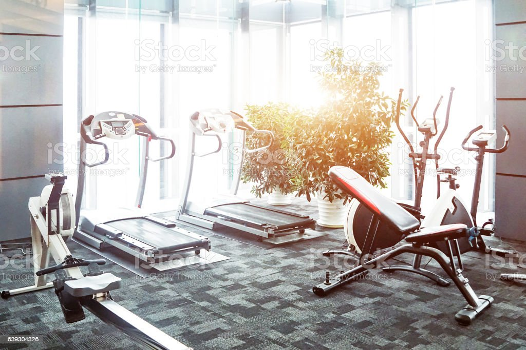 interior of rest room with fitness equipment stock photo
