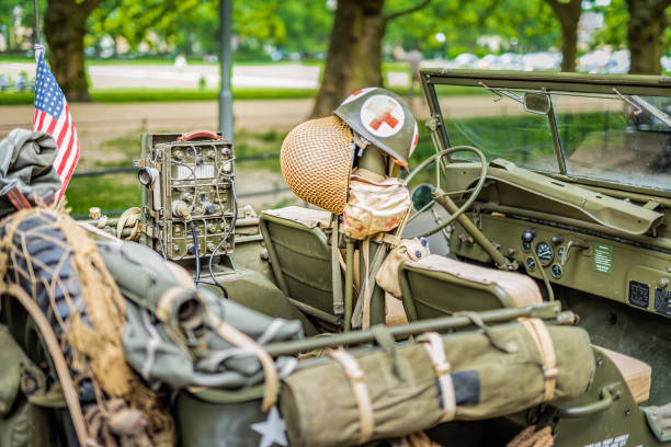 Interior of retro Jeep Willis from American Vietnam war or World War 2 Szczecin, Poland, June 2018 Interior of retro Jeep Willis from American Vietnam war or World War 2 with vintage equipment, accessories and camouflage willys stock pictures, royalty-free photos & images