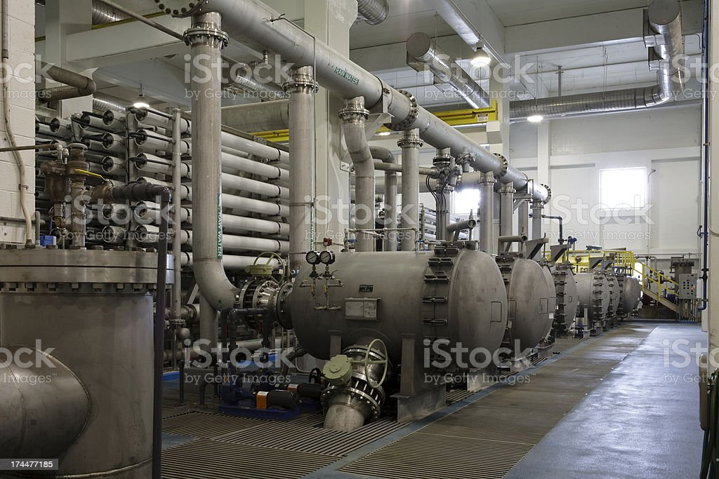 Interior of Reverse Osmosis Water Purification Plant stock photo