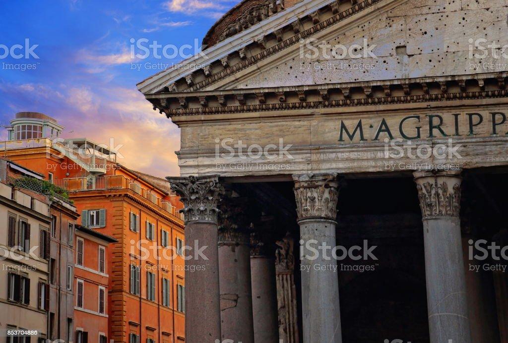 Interior of roman Pantheon temple stock photo