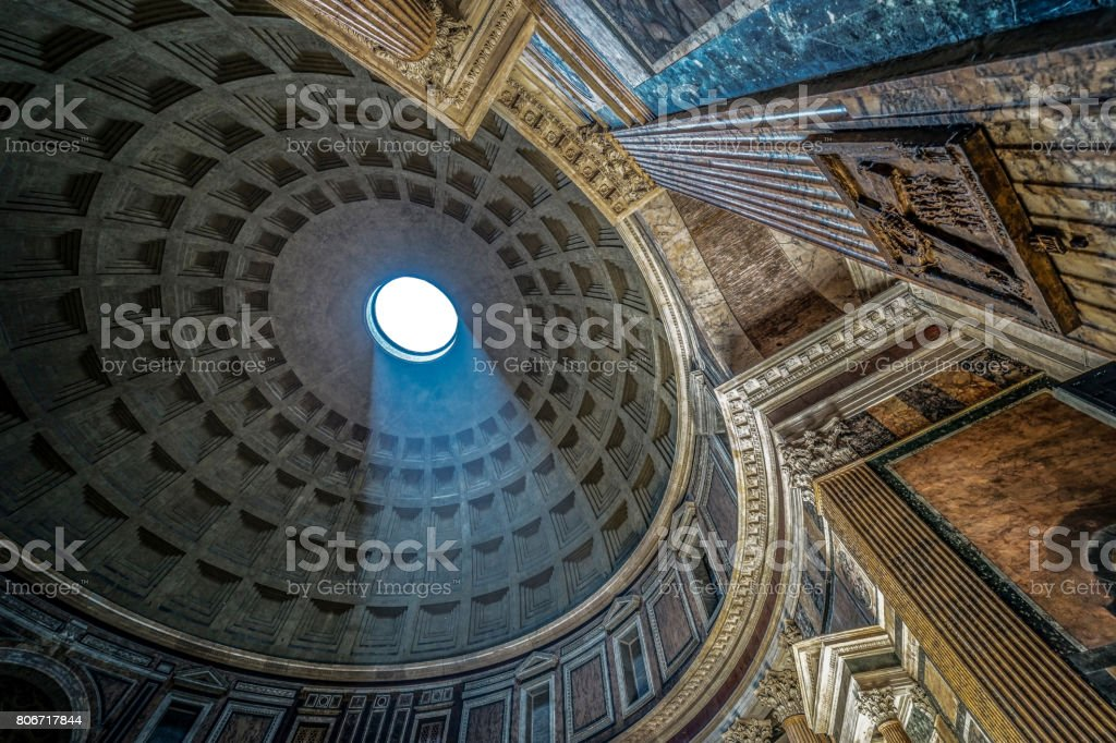 Interior of Rome Pantheon with the famous ray of light stock photo