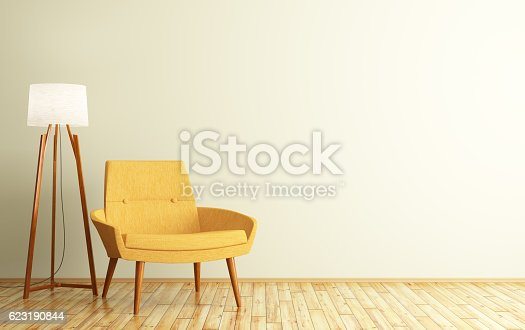 istock Interior of room with armchair and floor lamp 3d rendering 623190844