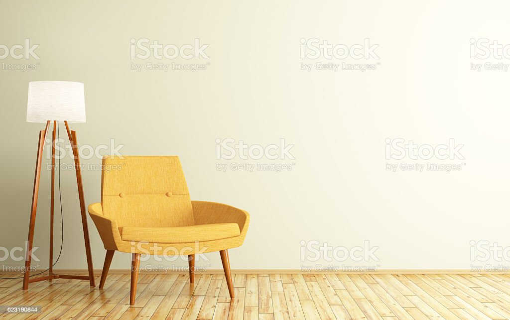 Interior of room with armchair and floor lamp 3d rendering stock photo