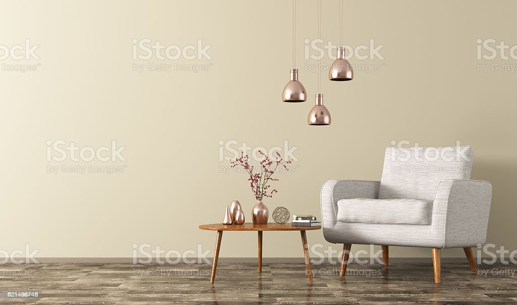 Interior of room with armchair, lamps, table 3d rendering stock photo