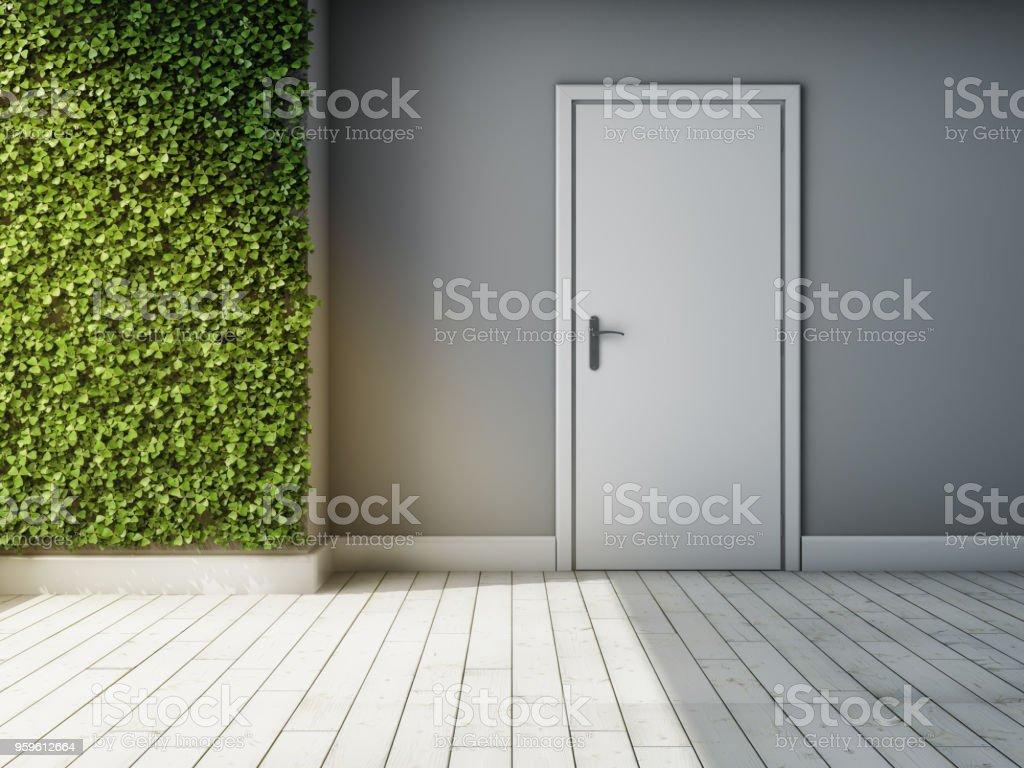 Interior de habitación con la pared verde de las plantas - Foto de stock de A la moda libre de derechos