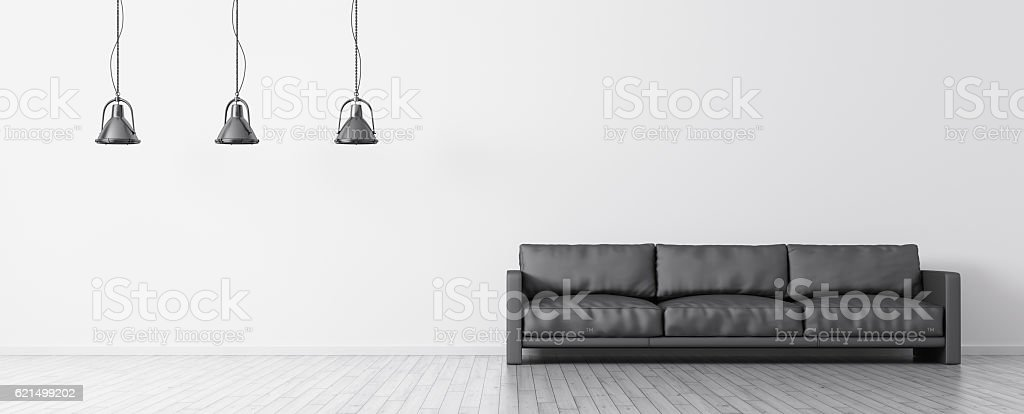 Interior of room with sofa and lamps panorama 3d rendering Lizenzfreies stock-foto