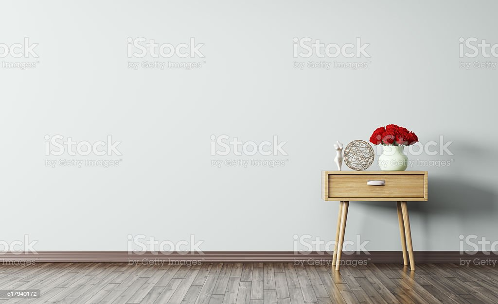 Interior of room with wooden side table 3d render stock photo