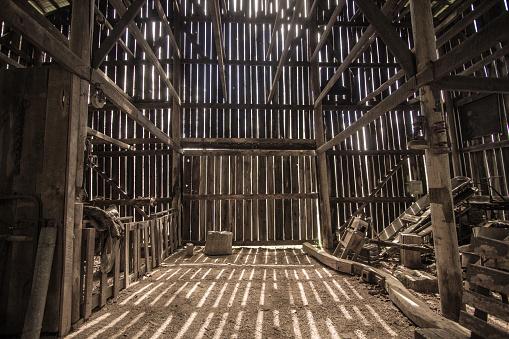 Interior Of Rural Barn In Kentucky USA