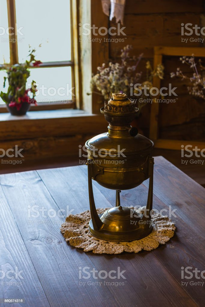 interior of   Russian log hut with elements of the old way of life stock photo