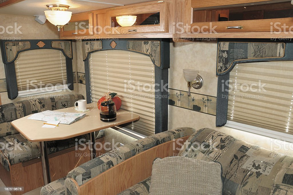 Interior of rv with roadmap royalty-free stock photo
