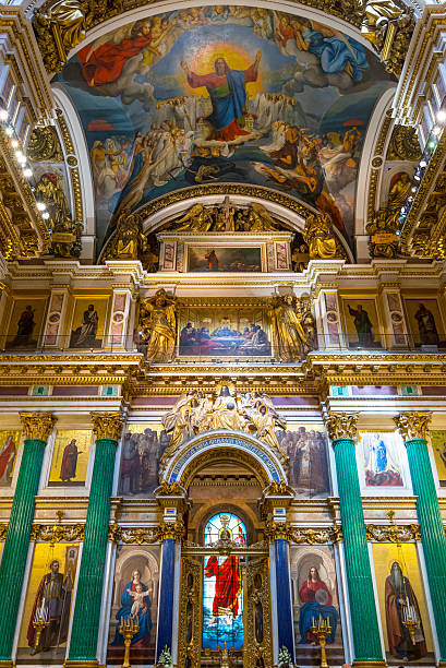 interior of saint isaac's cathedral in saint petersburg - isakskatedralen bildbanksfoton och bilder