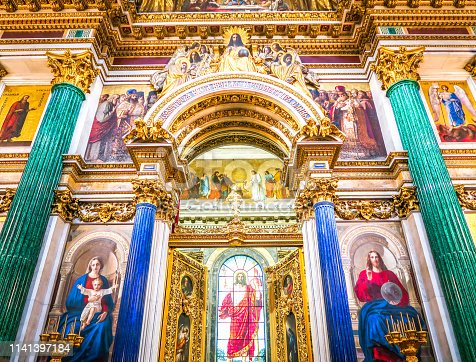 SAINT PETERSBURG, RUSSIA - JULY 26, 2018: Interior of Saint Isaac's Cathedral. The orthodox Cathedral in Saint Petersburg, Russia