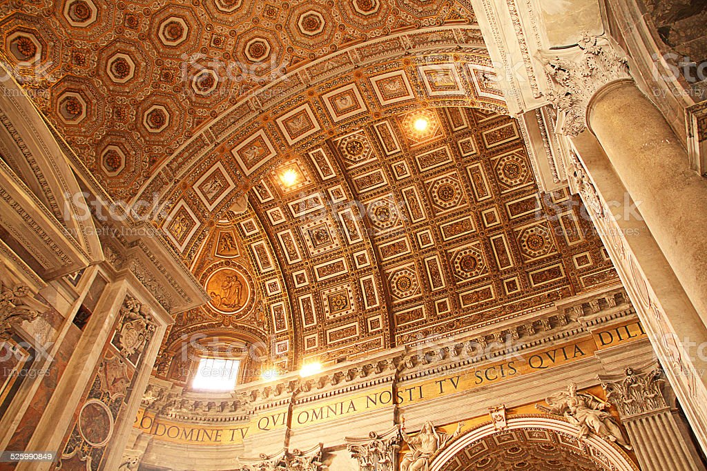 Interior of Saint Peter s Basilica in Rome stock photo
