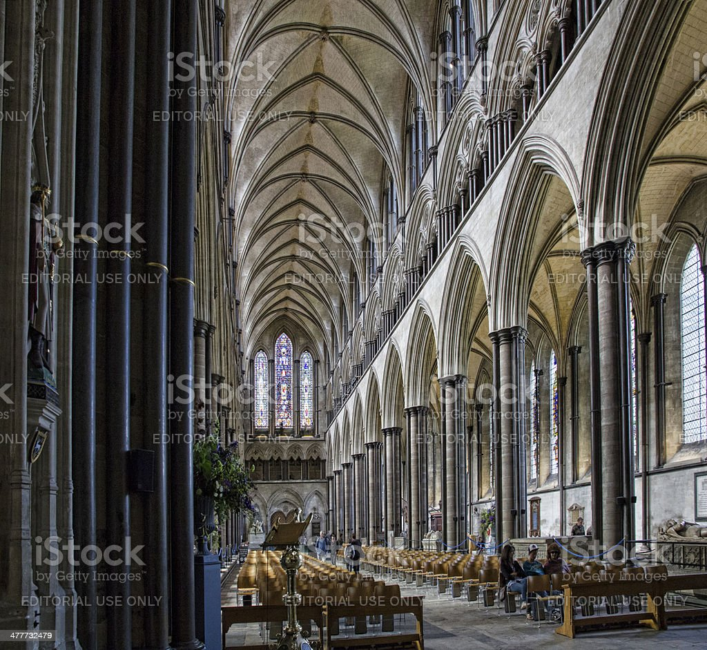 Interior of Salisbury Cathedral, Wiltshire, UK. stock photo