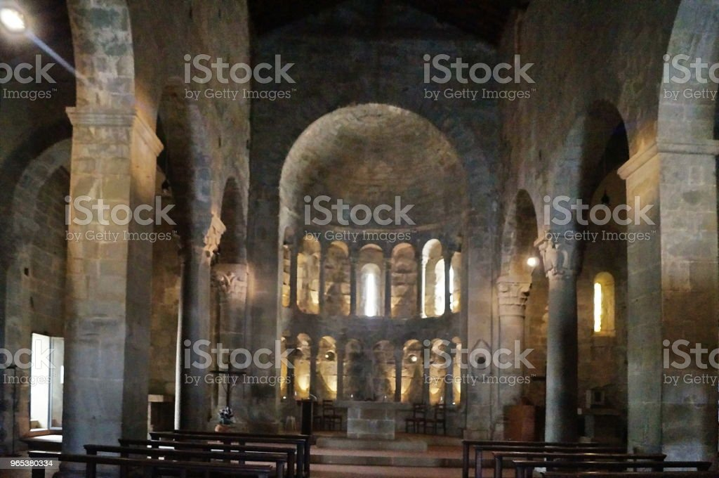 Interior of San Pietro church of Gropina, Tuscany zbiór zdjęć royalty-free
