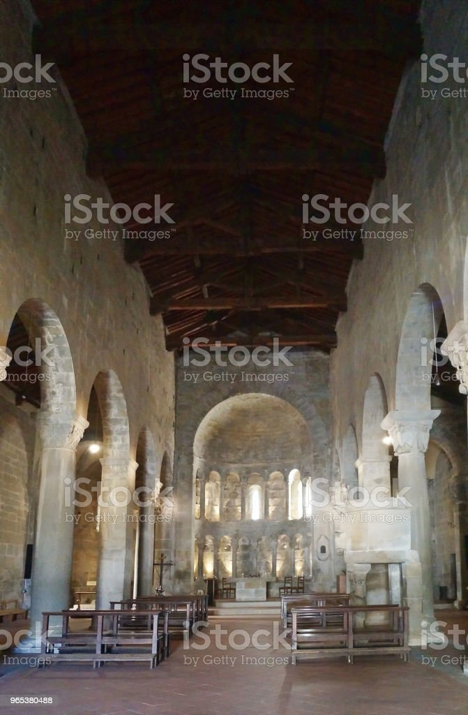 Interior of San Pietro church of Gropina, Tuscany royalty-free stock photo