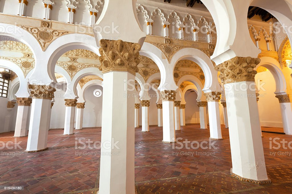 Interior of Santa Maria la Blanca Synagogue in Toledo, Spain stock photo