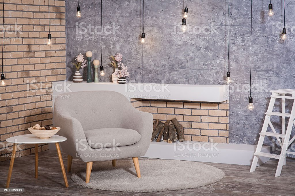 Interior of scandinavian style: contemporary fireplace with fire stock photo
