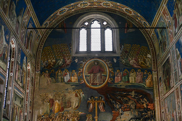 interior of scrovegni chapel in padua city - giotto stock-fotos und bilder