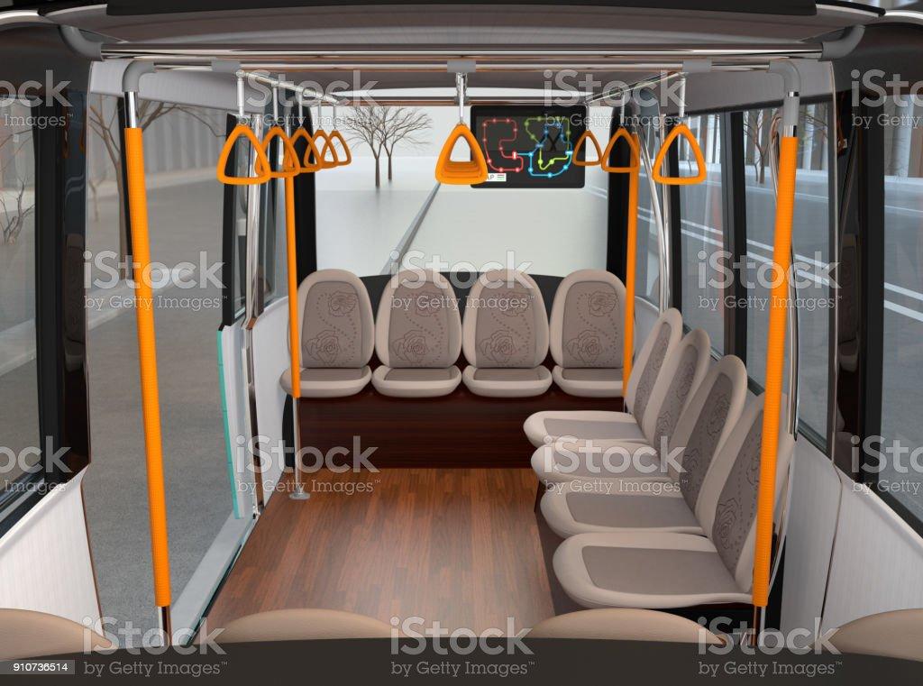 Innere des selbst fahrenden Shuttle-Bus warten am Busbahnhof – Foto