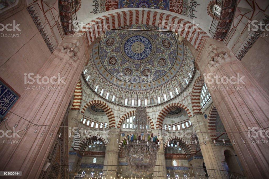 Interior of Selimiye Mosque,Edirne stock photo